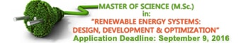 Master of Science (M.Sc.) in Renewable Energy Systems: Design, Development and Optimization